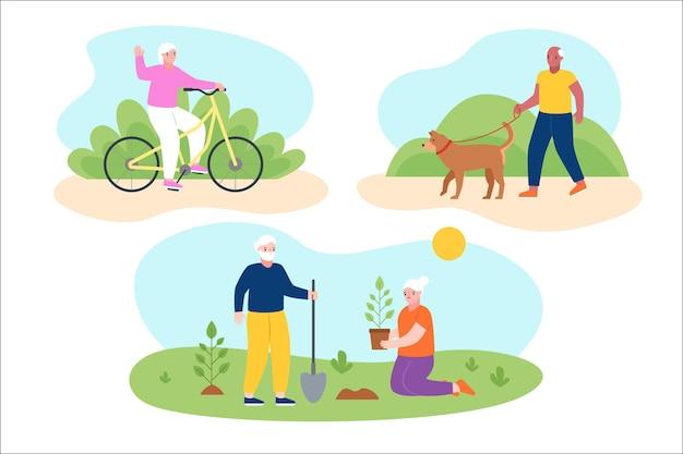 Actieve ouderen Gratis Vector