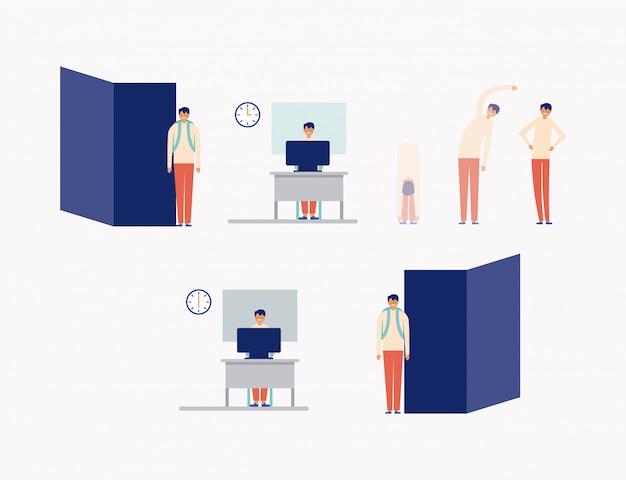 Actieve pauze in office-pictogrammen, vlakke stijl