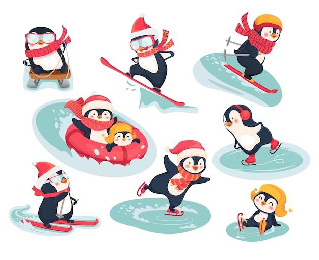 Actieve pinguïns in de winter. wintersport op vakantie vlakke afbeelding