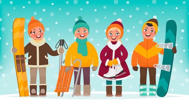 Actieve recreatie voor kinderen in de winter