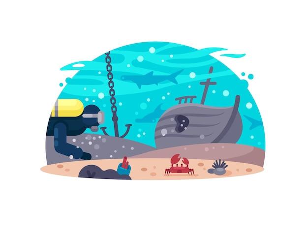 Actieve rust duiken. scuba-duiker dichtbij gezonken schip. vector illustratie