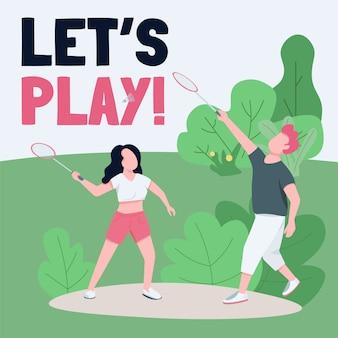 Actieve rust sociale media post mockup. laten we zin spelen. web banner ontwerpsjabloon. gezonde levensstijl, booster voor buitenspellen, inhoudslay-out met inscriptie.