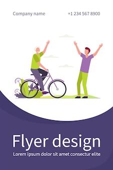 Actieve senior en jonge mannen buiten bijeen. rijdende fiets, vader en zoon vlakke afbeelding. flyer-sjabloon