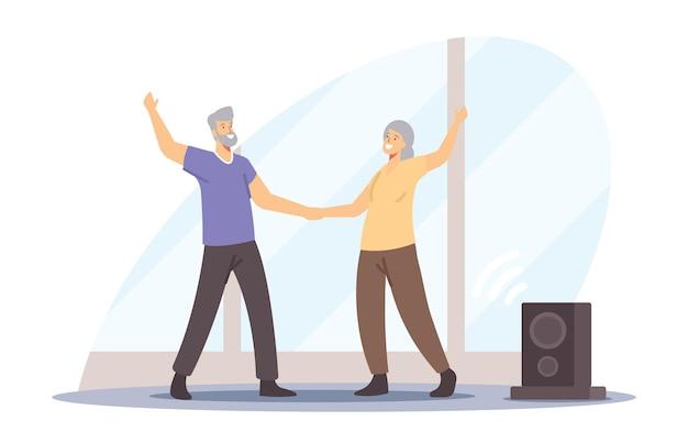Actieve senior karakters paar dansen vrije tijd, oudere mensen gelukkige levensstijl, oude man en vrouw brengen samen tijd door