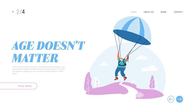 Actieve senior man extreme sporten activiteit en recreatie website bestemmingspagina.
