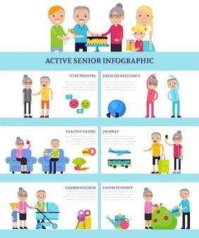 Actieve senior mensen platte infographics