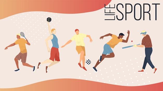 Actieve soorten sportconcept. groep mensen die sportactiviteiten buitenshuis uitvoeren. mannen en vrouwen spelen basketbal, voetbal, golf, tennis, honkbal en rennen.
