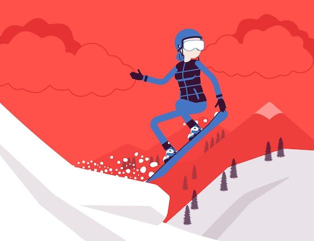 Actieve sportieve vrouw snowboarden, springen, genieten van winter buitenplezier op skigebied met besneeuwde natuur en uitzicht op de bergen, wintertoerisme en recreatie