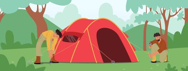 Actieve toeristen karakters camping. jonge man en vrouw hamer stokken aan de grond zetten tent op om tijd door te brengen op zomerkamp in het bos. zomervakantie, wandelen. cartoon mensen vectorillustratie