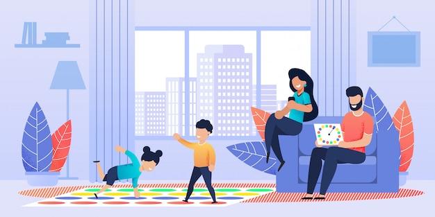 Actieve vloerstaande twister-game voor familie