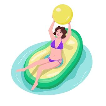 Actieve vrouw in pool kleur karakter. fit meisje spelen met de bal. sportieve vrouw zittend op opblaasbare matras. avocado ring. volwassen strand activiteit cartoon afbeelding