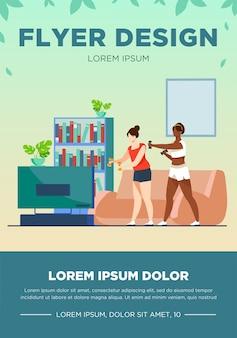Actieve vrouwen doen samen video-oefeningen. woonkamer, aerobics, gezondheid platte vectorillustratie. fitness- en activiteitenconcept voor banner, websiteontwerp of bestemmingswebpagina