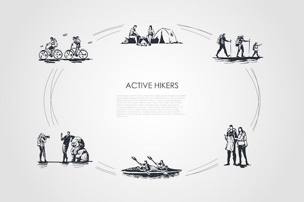 Actieve wandelaars illustratie