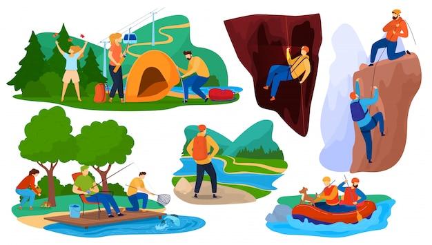 Actieve zomer toerisme illustratie, stripfiguren toeristische wandelen, mensen kamperen in de natuur bos, kajakken in de rivier