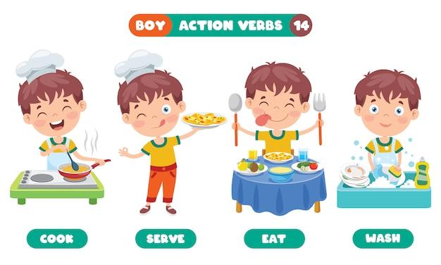 Actiewerkwoorden voor onderwijs voor kinderen