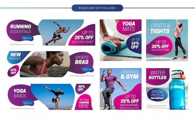 Activewear sale banners set