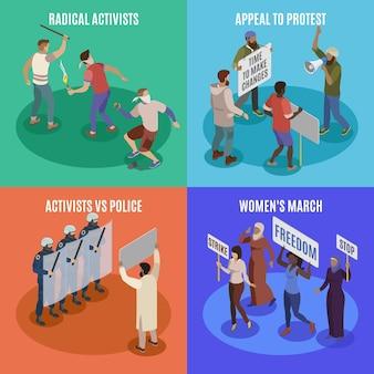 Activisten illustraties set Gratis Vector