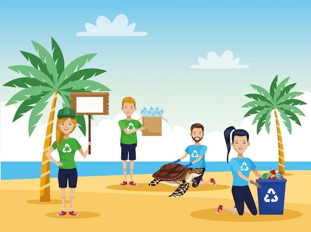 Activistenmensen die strand met zeeschildpadscène schoonmaken