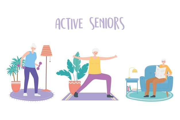 Activiteit senioren, oudere man en vrouwen die yoga-oefeningen maken en krantenillustratie lezen