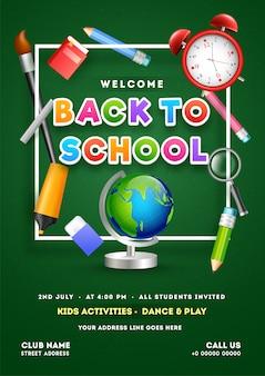 Activiteit voor kinderen, dans & spel sjabloon voor flyer ontwerp voor back t