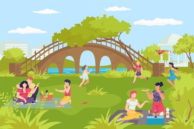 Activiteit vrije tijd bij park rivier, gelukkige familie mensen lopen op natuur illustratie. buiten zomer levensstijl, gezond groen gras voor jongere. man vrouw samen bij stadsgezicht.