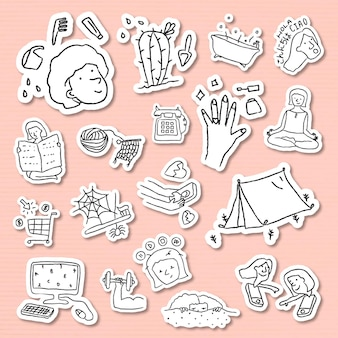 Activiteiten thuis doodle stijl sticker set