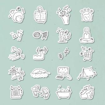 Activiteiten thuis doodle stijl stickerset