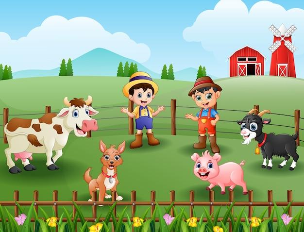 Activiteiten van jonge boeren met dieren