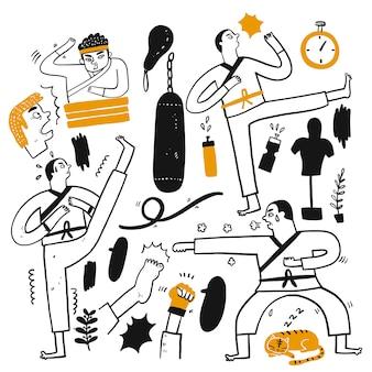 Activiteiten van mensen die verschillende sporten beoefenen,