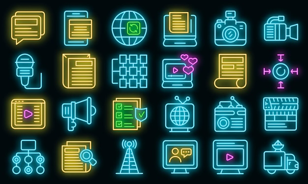 Actualisering pictogrammen instellen. overzicht set van actualisatie vector iconen neon kleur op zwart