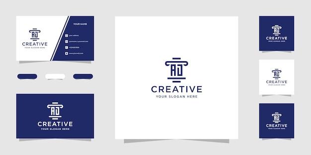 Ad advocatenkantoor logo ontwerpsjabloon en visitekaartje