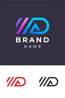 Ad monogram logo sjabloon