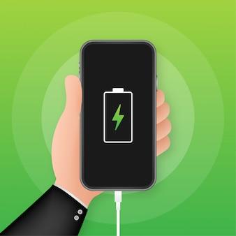 Adapter voor smartphonelader en stopcontact, melding voor bijna lege batterij. illustratie.