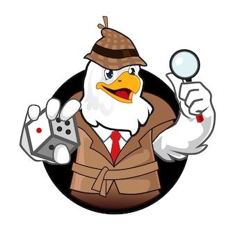 Adelaar detective mascotte cartoon in vector