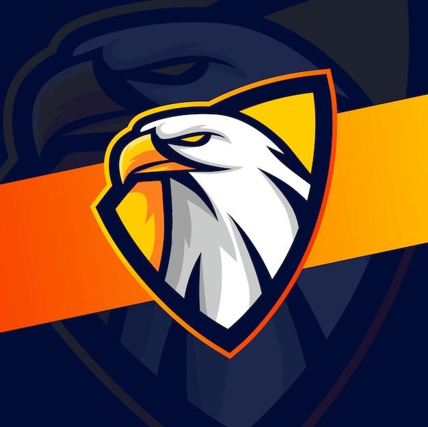 Adelaar hoofd mascotte esport logo ontwerp