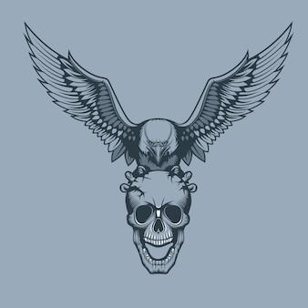 Adelaar met een schedel in klauwen