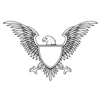 Adelaar met schild dat op witte achtergrond wordt geïsoleerd. element voor embleem, badge. illustratie.