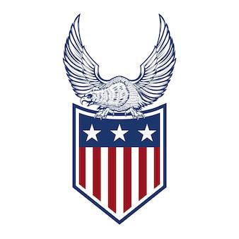 Adelaar op amerikaanse vlag. element voor logo, etiket, embleem, teken. beeld