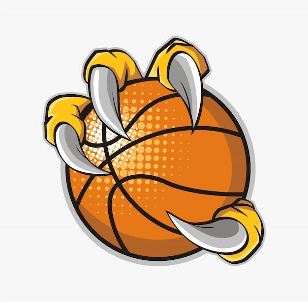 Adelaarsklauw die een basketbal houdt