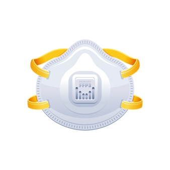 Ademhalingsapparaat ffp3. ppe chirurgisch masker vectorillustratie. corona-virus covid 19 beschermt apparatuur.
