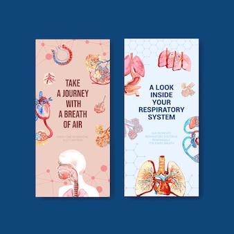 Ademhalingsflyerontwerp met menselijke anatomie van de longen en gezonde zorg