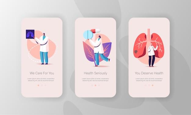 Ademhalingsgeneeskunde, pulmonologie gezondheidszorg mobiele app-pagina onboard-schermsjabloon.