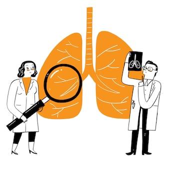 Ademhalingsgeneeskunde pulmonologie gezondheidszorgconcept. artsen controleren menselijke tuberculose of longontsteking met een vergrootglas, maken röntgenfoto's. medische longzorg. vector illustratie