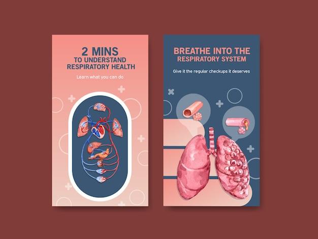 Ademhalingsinstagram sjabloonontwerp met menselijke anatomie van de longen en gezonde zorg
