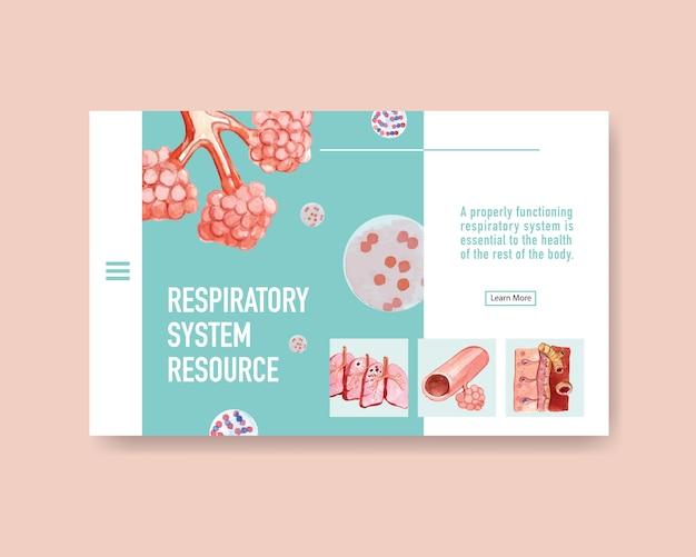 Ademhalingssysteemontwerp voor websitesjabloon met menselijke anatomie van de long