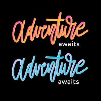 Adenture 3d slogan moderne modeslogan voor t-shirt grafische print