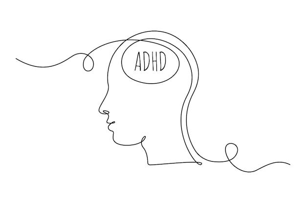 Adhd-concept met man hoofd één doorlopende lijntekening van rommelige gedachten mentale aandachtsstoornis