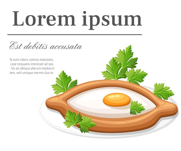 Adjarian khachapuri met kruid vers gebakken brood gevuld met kaas en rauw ei platte platte illustratie op witte achtergrond met plaats voor uw tekst website-pagina en mobiele app
