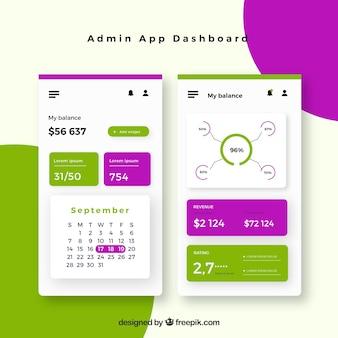 Admin-app-dashboardsjabloon met plat ontwerp