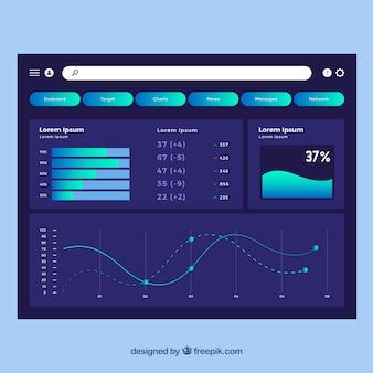 Admin dashboardsjabloon met plat ontwerp